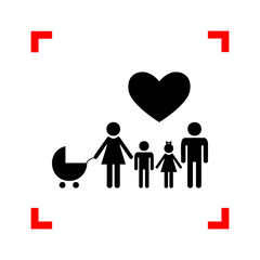 Family sign with heart. Husband and wife are kept children's han