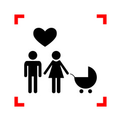 Family symbol with pram and heart. Husband and wife are kept eac