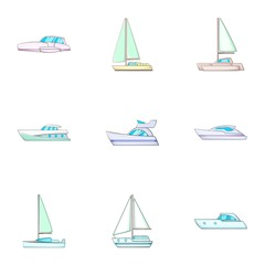 Sail boat icons set, cartoon style