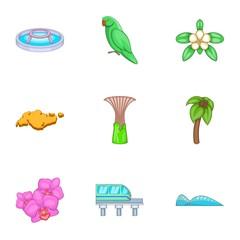 Singapore national cultural symbols icons set