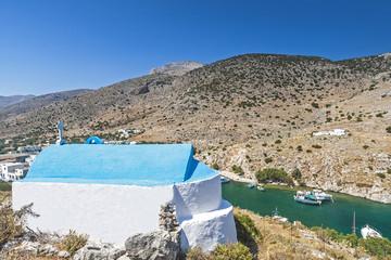 Insel Kalymnos, Griechenland, Kapelle und Fjord