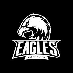 Furious eagle sport mono vector logo concept isolated on dark background. Web infographic New York Brooklyn team pictogram.