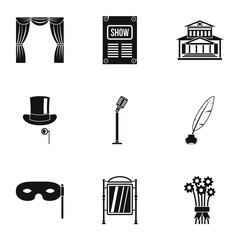 Entertainment in theatre icons set, simple style
