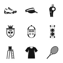 Big tennis icons set, simple style