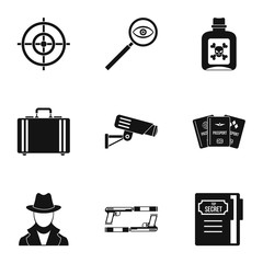 Detective icons set, simple style
