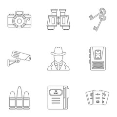 Surveillance icons set, outline style