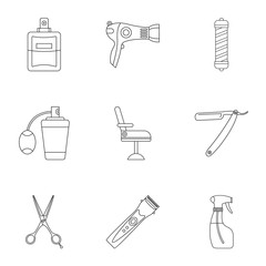 Barbershop icons set, outline style