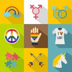 Sexual minorities icons set, flat style