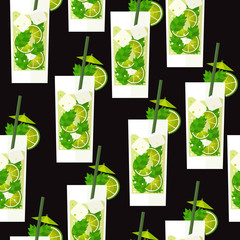 Seamless pattern with cocktail Mojito