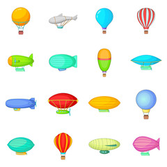 Vintage balloons icons set, cartoon style