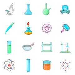 Chemical lab icons set, cartoon style