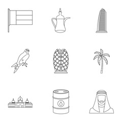 UAE icons set, outline style