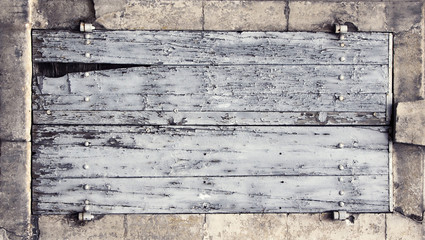 Old cracked wooden panel banner background
