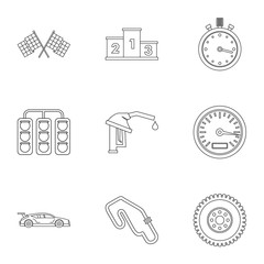 Race icons set, outline style