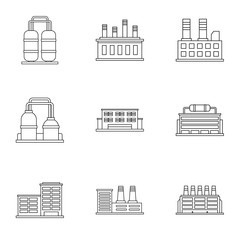 Industrial complex icons set, outline style