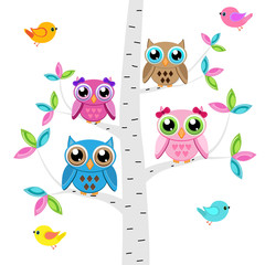 Vector set of a colorful owls and birds  at the tree