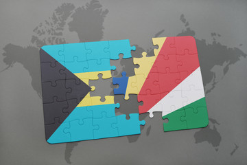puzzle with the national flag of bahamas and seychelles on a world map