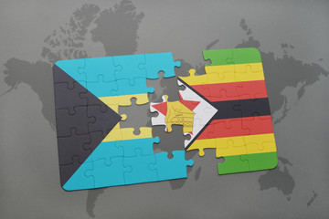 puzzle with the national flag of bahamas and zimbabwe on a world map