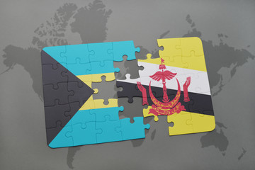 puzzle with the national flag of bahamas and brunei on a world map