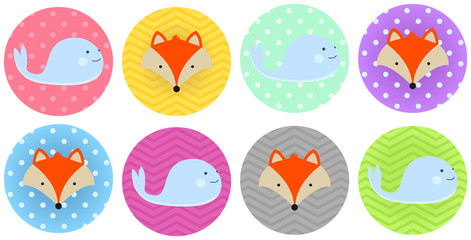 Cute Baby Whale and fox