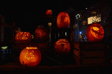 Pumpkin night party in Switzerland village Rudolfingen, near Zurich. People make different pictures on pumpkins. This Party is an alternative to the Helloween party.