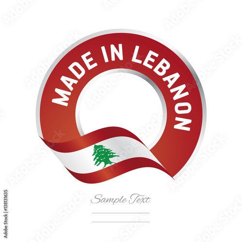 quotmade in lebanon flag red color label button logo icon
