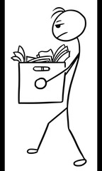 Stickman Cartoon of Man Carrying Box of Office Paper