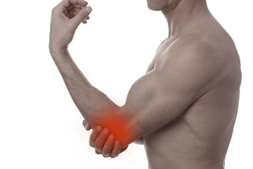 Sport injury, Man with elbow pain. Pain relief concept isolated on white.