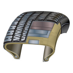 Tire cross-section illustration showing various layers and materials used to form it's construction & resilience.