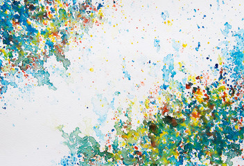 Watercolor painting colorful background.