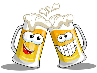Cartoon beer mugs cheers isolated