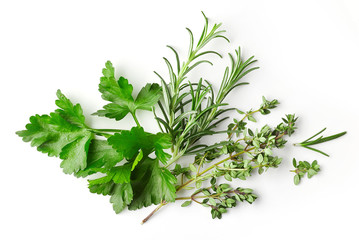 fresh green spices on white background