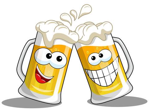 Cartoon beer mugs cheers isolated