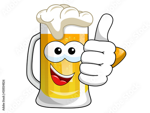"""Cartoon beer mug thumb up isolated"" Stock image and ..."