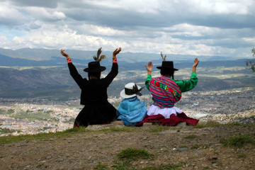 Peruvian family in Andes mountains Peru