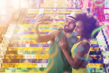 Couple celebrating the Carnival in Rio de Janeiro, Brazil