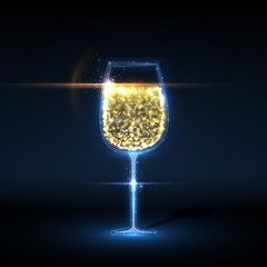 Abstract wineglass background, with magic light sparkles. Vector illustration.