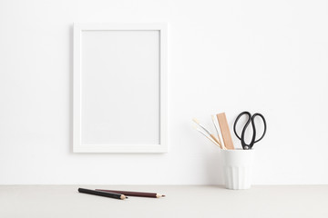 White picture frame mock up