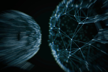 Abstract technology neural network and sphere geometry orb and polygonal lines and dots. Futuristic Technology, digitally generated image, 3d rendering