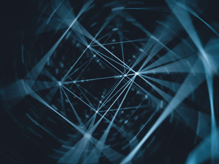 Futuristic technology cyber cube connection world network, computer, fiber virtual optic cables, fibre connection, telecomunications concept background, digitally generated image.
