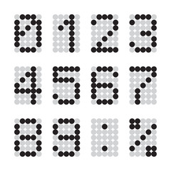 Calculator digital numbers, terminal table led font, black with gray grid isolated on white background, vector illustration.
