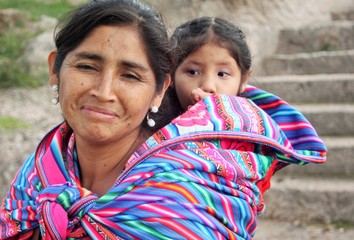 Peruvian woman with child in Peru