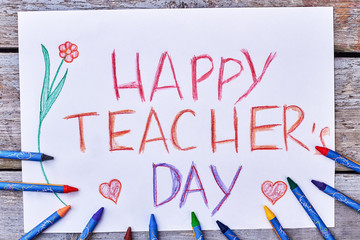 Pencils, card, flowers and hearts. Lovely surprise for a teacher.