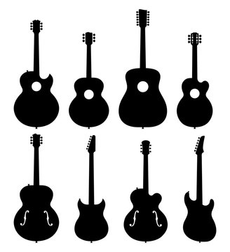 Vector Illustration Of A Set Of No Name, No Brand, Imaginary Jazz Guitar Silhouettes.