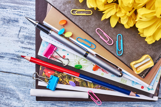 Folders with documents and stationery. Start your business.