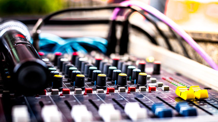Beautiful closeup shot of Sound mixing control panel for recording music and live telecasts