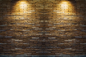 Spotlight at wall brick wall texture background