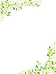植物と小鳥のナチュラルな背景素材
