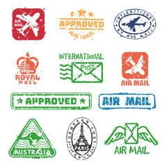 Vector set of vintage postage mail stamps.