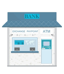 Bank counter currency exchange service and atm.